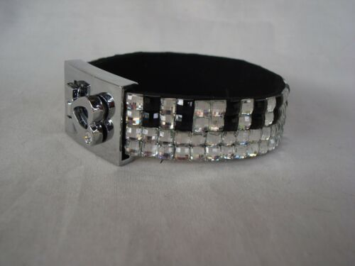 PIANO Keyboard Music Crystal Bracelet 4 Rows Black//Clear Crystals Brand NEW