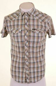 LEE-Mens-Shirt-Short-Sleeve-Medium-Multicoloured-Check-Cotton-Slim-Fit-DO04