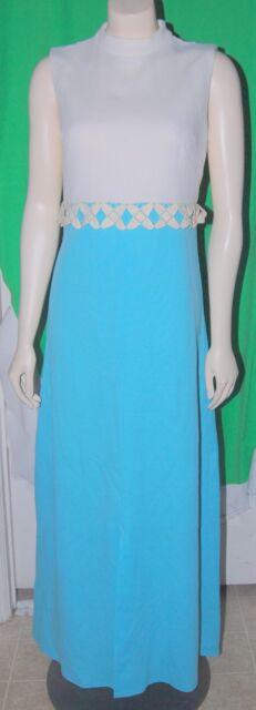 Vintage 50s Sky Blue White Dress Sleeveless Full Length Floral Trim M Polyester