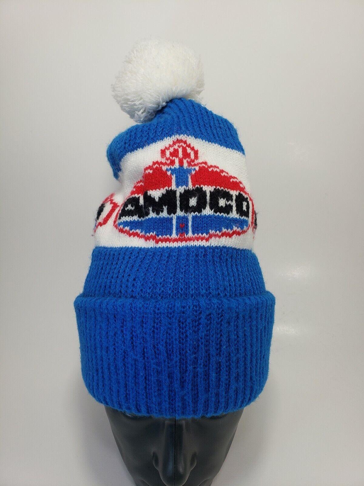 Original Vintage Amoco Oil Beanie Winter Toque Red White And bluee Pompom...
