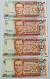 2008 Philippines 20 Piso Consecutive 4 Notes UNC [P-182i]