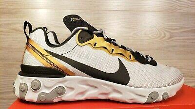 CD7627-001 Mens Sz 9 Nike React Element 55 Gold Pure Platinum Black Running