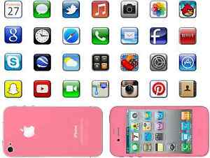 Pink Iphone with 28 App Icons Edible Rice Paper or Icing ...