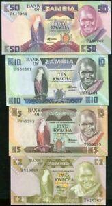 Mazuma *F830 Zambia 1980 2,5,10,50 Kwacha Total 4Pc (Random) Set UNC
