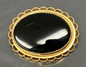 Vintage Black Jade Oval 1/20 12K GF Brooch