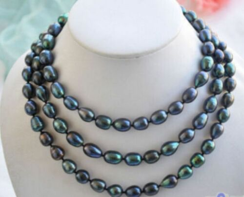 """9-10mm New Tahitian Black Natural Pearl Necklace 48/"""" AAA+"""