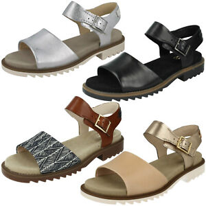 Details about LADIES CLARKS LEATHER BUCKLE SIZE CASUAL FLAT HEEL SUMMER SANDALS FERNI FAME