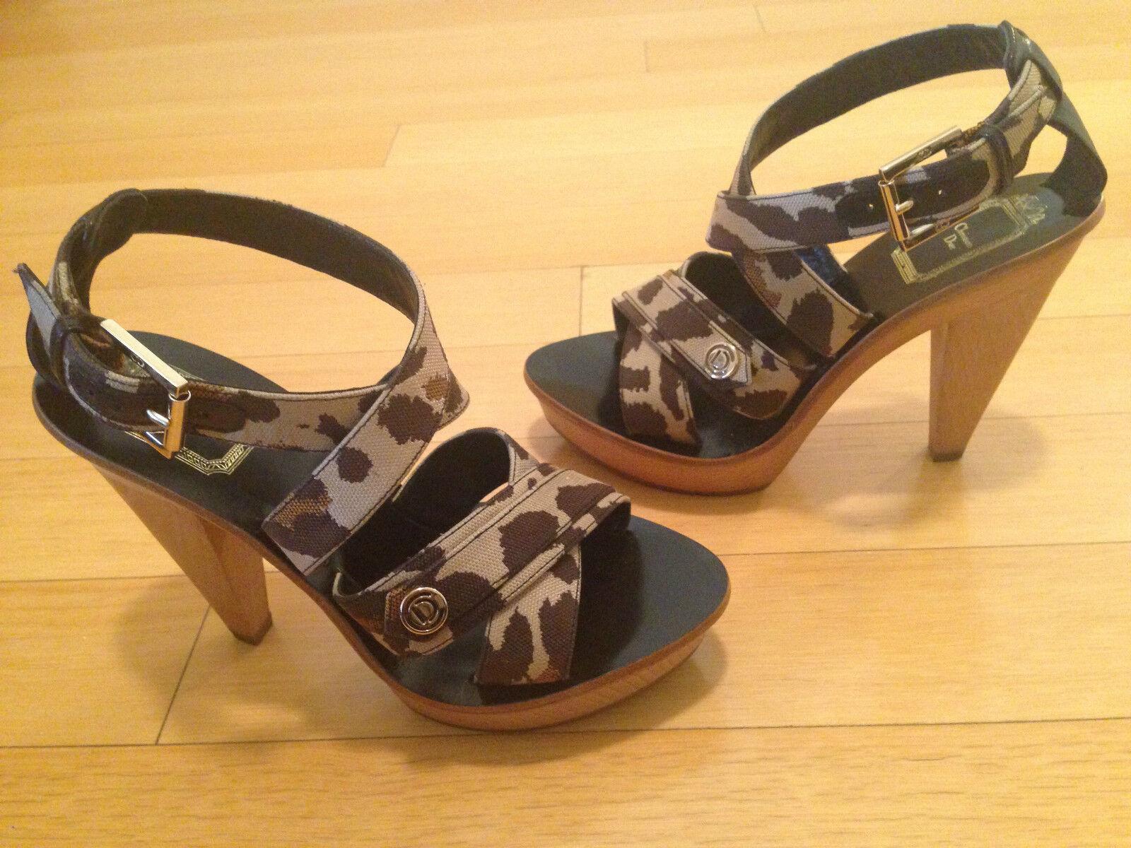 Christian Dior initiales en bois léopard talons hauts à plate-forme Sandales Taille 35