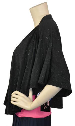 Signature By Robbie Bee NWT Glitter Batwing Sleeve Bolero Black Size S Ret $30