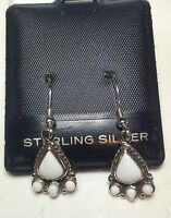 Pear Shaped White Onyx French Dangle Victorian Style Sterlingsilver Earring3304