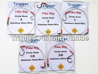 5x pike traces high quality single circle hooks various sizes 30lb wire