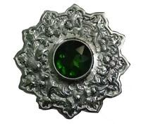 Fly Plaid Brooch Stone Green Chrome Finish 4/scottish Kilt Fly Plaid Brooch
