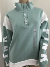 60b46d6a23b4d Victoria's Secret Pink Varsity Quarter Snap Pullover Sweater Chrome ...