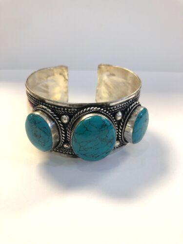 Boutique Fashion Turquoise Bracelet Pewter Adjustable Cuff Handmade Nepal B30