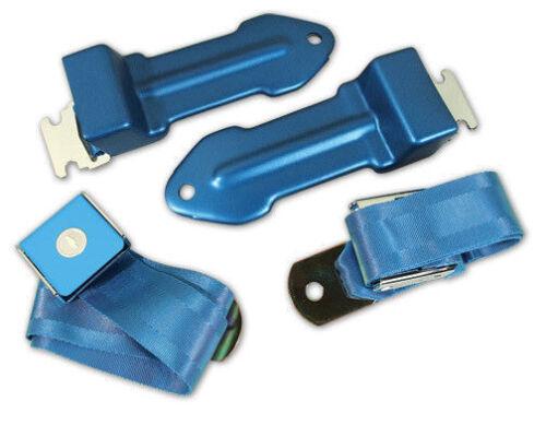 C2 Corvette 1965-66E Bowtie Bright Blue Lift Latch Seat Belts w//Boot and Winder