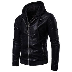d0237c602dd Men s Fashion Leather Hoodie Warm Hooded Sweatshirt Coat Jacket ...
