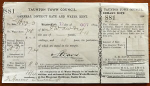 Taunton Town Council General District Rate and Water Rent Receipt 19 Oct 1894