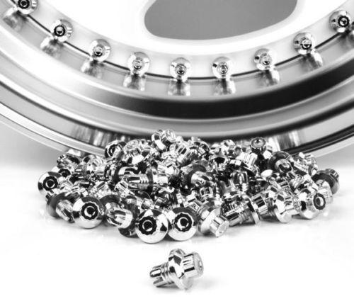 100 x Chrome Silver Plastic Wheel Rivets Nuts Rim Lip Replacement Alloys Rims U