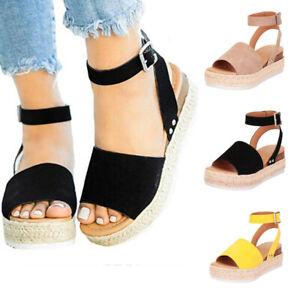 ead22e1f4f9 Details about Women's Summer Ankle Strap Espadrille Wedge Platform Heel  Open Toe Sandals Szie