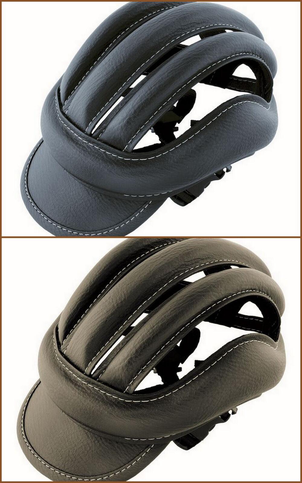 Casco bici copricapo vintage epoca finta pelle eroica bike helmet black brown