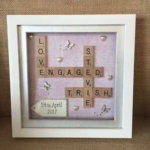 Box Frame Scrabble Letters Valentine Family Wedding
