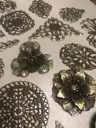 Filigree Bronze Metal Embellishments Corners Craft Supplies Journal Scrapbooking