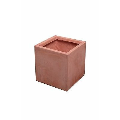 Terracotta Fibrecotta Cube Planter 3 Sizes Indoor Outdoor Plant Pot Decoration