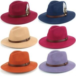 608540cfb7f01 La imagen se está cargando Sombrero-Fedora-Fieltro -de-Lana-Hawkins-Pluma-Banda-