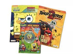 Lot-Of-3-Sponge-Bob-Square-Pants-Angry-Birds-Jumbo-Coloring-Activity-Maze-Book
