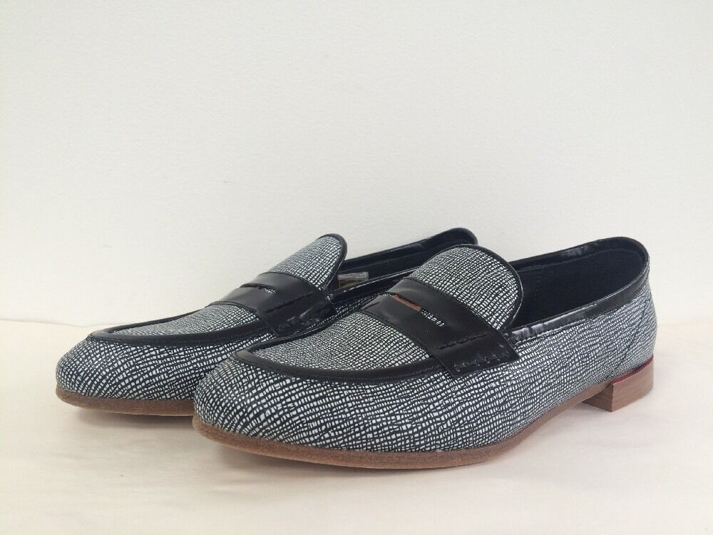 New Rag & Bone Dina Saffiano Leather Loafers Penny Loafers Leather BLK WHT Made in Italy Sz 35/5 3510ab