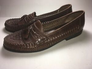 Nunn Bush Mens 10 M Dark Brown Woven Leather Tassel Slip