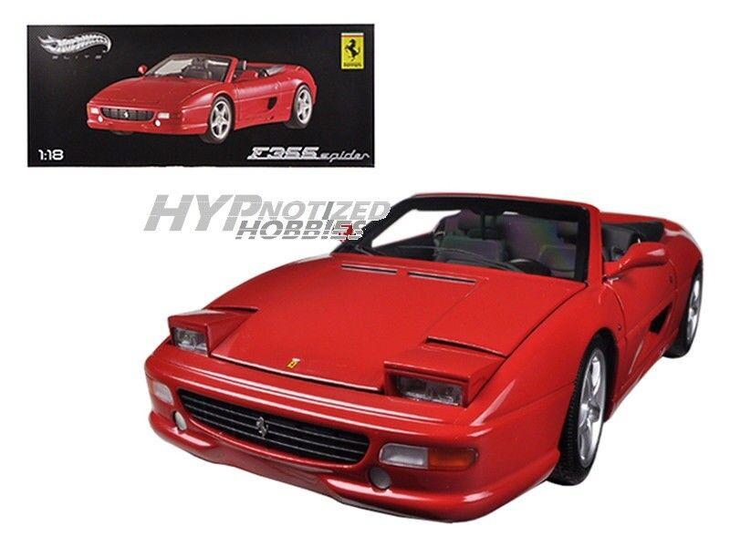 Hot Wheels 1 18 Elite Ferrari F355 Araña de Metal rosso Bly34