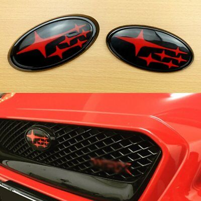 Rear /& Front BLACK Carbon Fiber For STI IMPREZA WRX 2014-2017 Badge Emblem