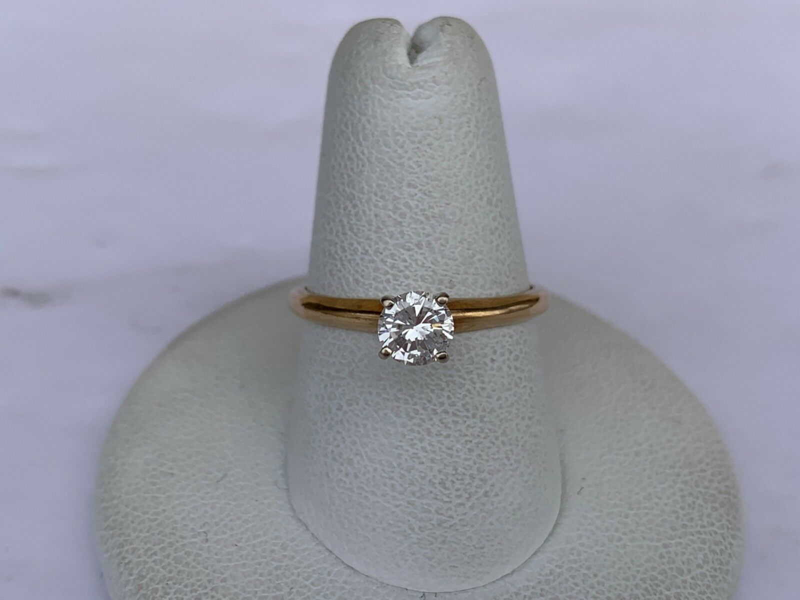 14K Yellow gold Round Diamond Solitaire Ring 0.43 CT (Size 7.25)