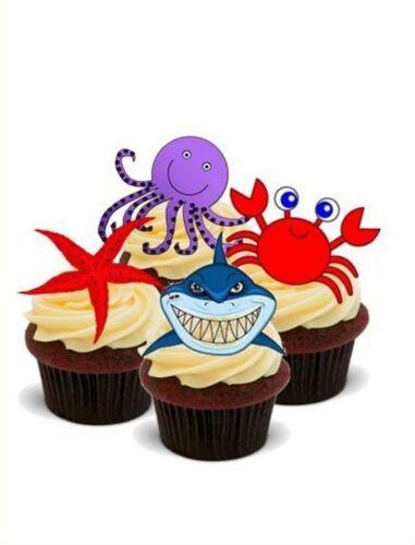 Créatures marines Mix-Plateaux 12 comestibles Standup PREMIUM GAUFRE gâteau Toppers