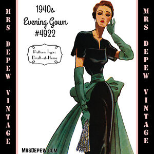 0b17c78ab17 Image is loading Vintage-Sewing-Pattern-1940s-Cocktail-or-Evening-Gown-