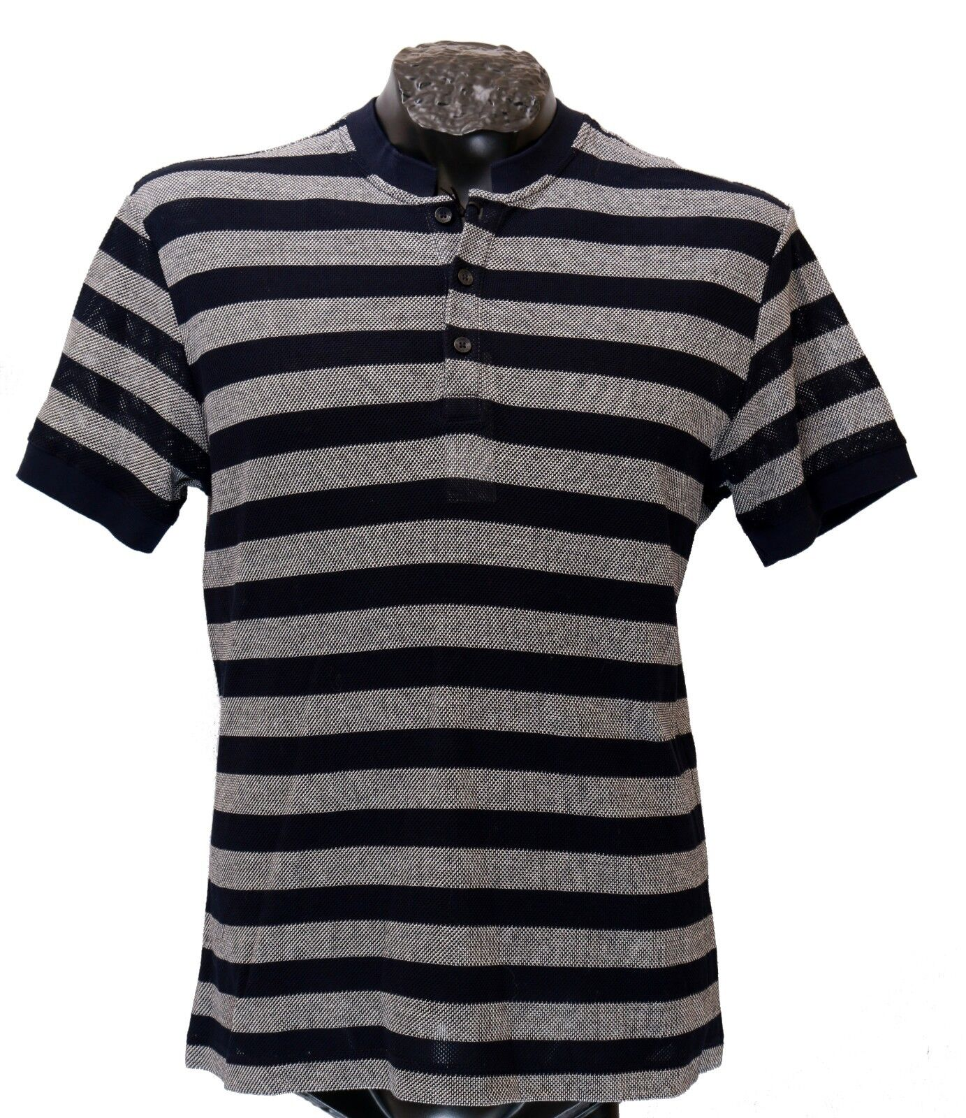 dcfd9747a37f New VERSACE Open 100% Cotton Striped Polo Shirt sz M COLLECTION Knit ...