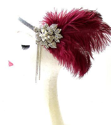 Silver Burgundy Maroon Red Feather Headband 1920s Flapper Headpiece Vintage 1153