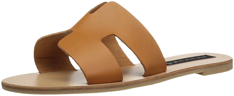 Steven Steven Steven by Steve Madden Greece Flat Sandals Slides Cognac Leather Size 7.5 93b35a