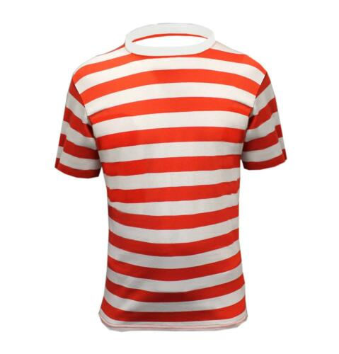 MENS BOYS WHERES  RED AND WHITE STRIPED T SHIRT TOP SIZE XL