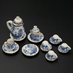 15Pcs-Dining-Ware-Ceramic-Blue-Flower-Set-For-1-12-Miniatures-Dollhouse-A2X8