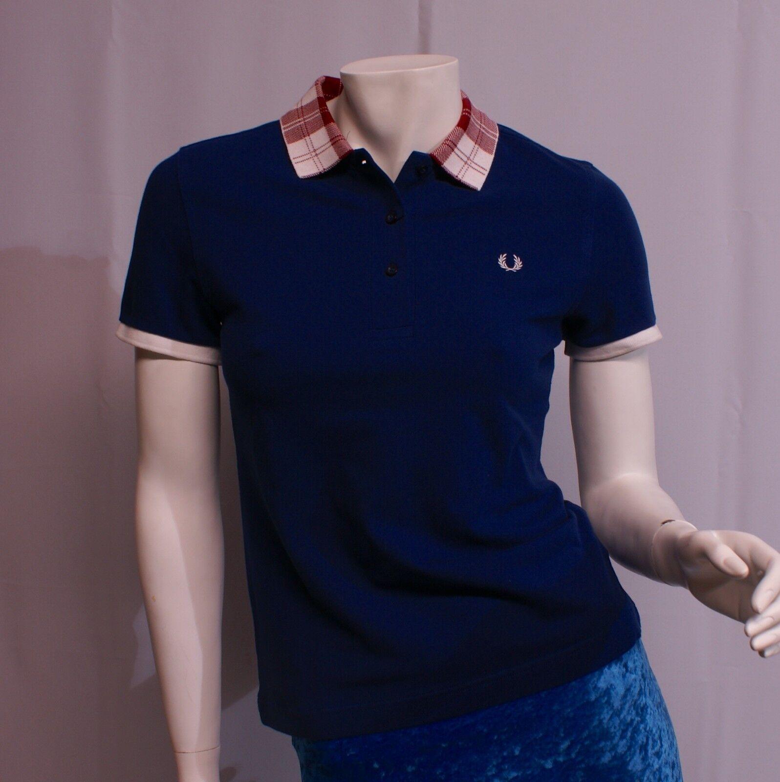 Frot Perry Tartan Collar Pique Shirt Medieval Blau G8670-126 Polo blau Damen