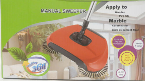Easy Push Manual Spinning Floor Sweeper Rotates 360 Degrees Gets all The Corners