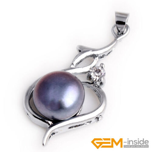 9-10 mm naturel d/'eau douce perles blanches plaqué or cœur bijoux pendentif