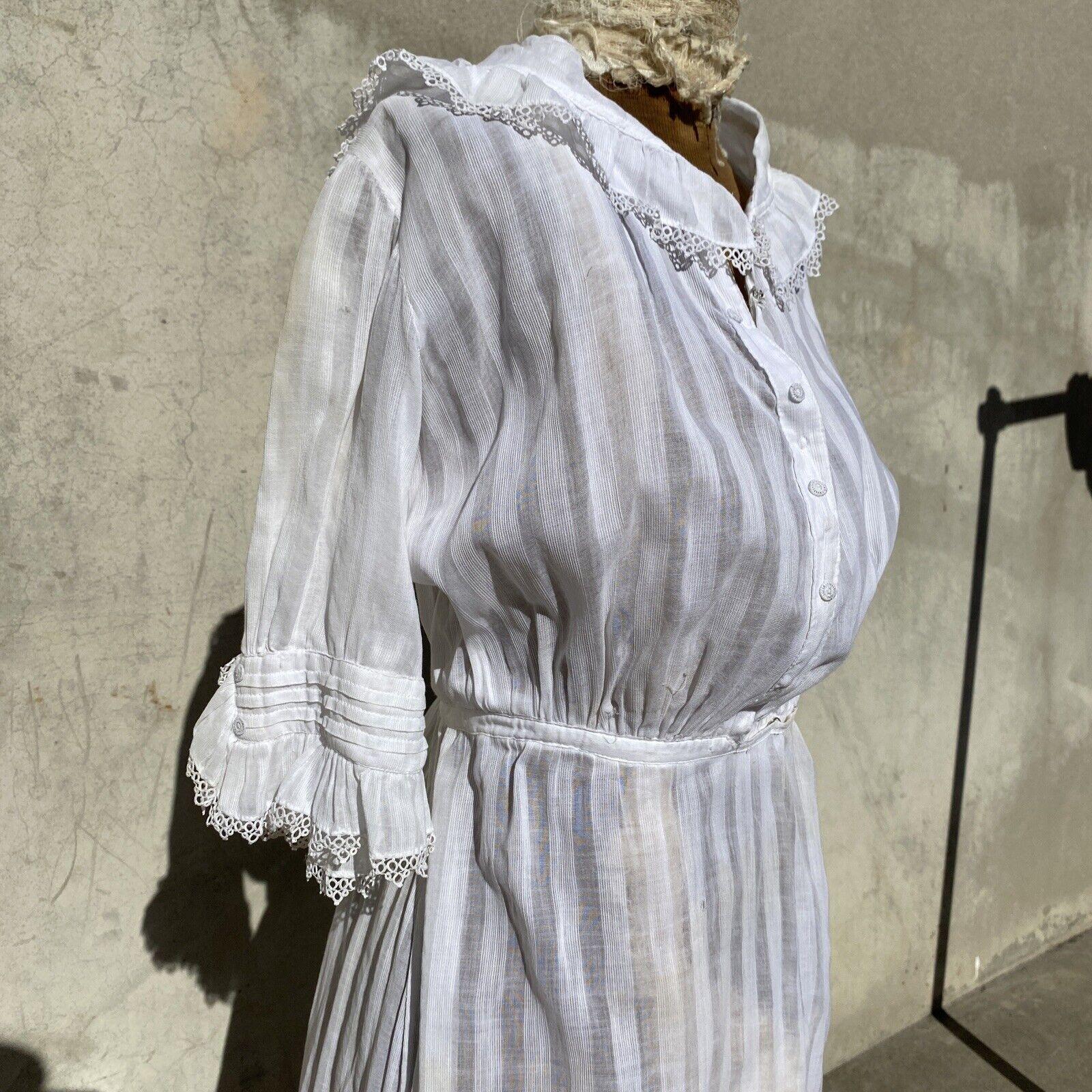 Antique Edwardian White Cotton Tea Dress Maxi Lac… - image 5