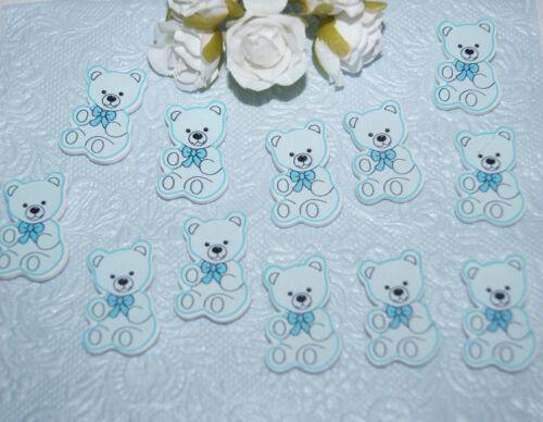 Tischdeko Geburt Taufe Streuartikel Holz Bär 12St Junge  Mädchen rosa blau