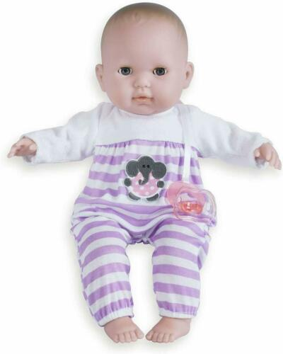 Baby Doll Purple 15in Soft Body Open Close Eyes Removable Outfit Hat Pacifier