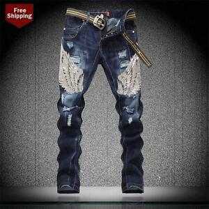 Fashion Men's Sim Fit Jeans Pants Trousers Denim Punk Washed Casual Trousers