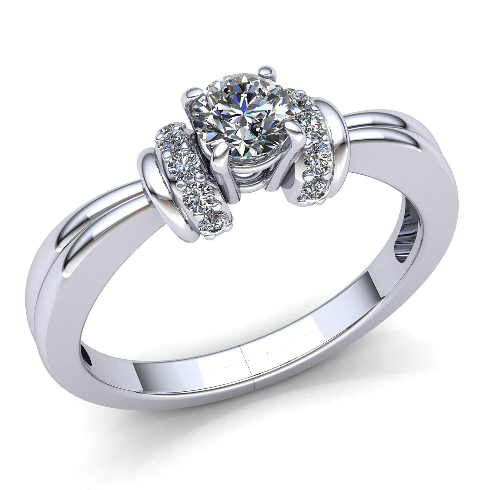 Genuine 0.5ct Round Cut Diamond Ladies Fancy Solitaire Engagement Ring 10K gold