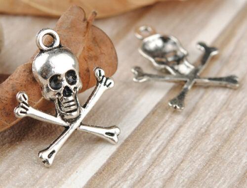 10 Anhänger Skull Charms Farbe antiksilber Metall 23x19mm Totenkopf #S282